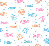 Funny fish outline pattern on white background with bubbles. Funny fish outline colorful pattern on white background with bubbles Stock Image