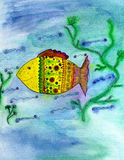 Funny fish. The picture is painted by watercolor on paper Royalty Free Stock Photo