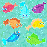 Funny Fish seamless pattern Stock Photo