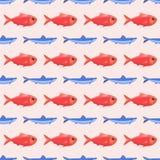 Funny fish seamless pattern sea food marine life background with tuna vector illustration. Cartoon underwater wrapping art animal backdrop Stock Photo
