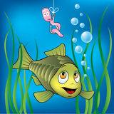 Funny fish and worm. Funny fish and scared worm Royalty Free Stock Photo