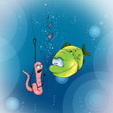 Funny fish and worm Royalty Free Stock Photo