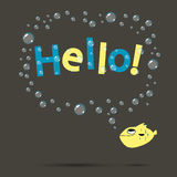 Funny fish. Funny yellow smiling fish saying hello with bubbles, any text can be placed inside, sale, happy birthday, congratulation etc Stock Image
