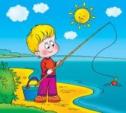 Funny fisherman. Children's book illustration for yours design, postcard, album, cover, scrapbook, etc Stock Images