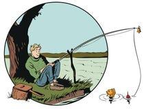 Funny fisherman with fishing rod. Stock illustration. Stock Photo