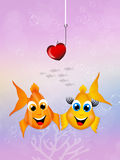 Funny fishes in love Stock Photography