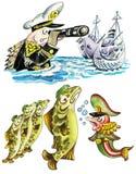 Funny fishes in navy uniform. Funny cartoon military fishes in navy uniform. Isolated on white Royalty Free Stock Photo