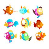 Funny fishes set, little colorful sea creatures characters, marine theme design elements can be used for kids party. Invitation, greeting card vector royalty free illustration