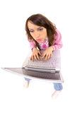 Funny fisheye picture of woman with laptop Royalty Free Stock Photo