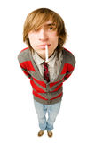 Funny fisheye portrait of man with cigarette Royalty Free Stock Image