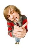 Funny fisheye portrait of man with cigarette Stock Photo