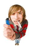 Funny fisheye portrait of man with cigarette Royalty Free Stock Photography
