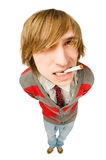 Funny fisheye portrait of man with cigarette Royalty Free Stock Photo