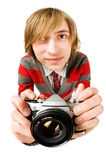 Funny Fisheye Portrait Of Man With Camera Stock Images