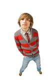 Funny fisheye shoot of young man. Funny fisheye portrait of young man Stock Image
