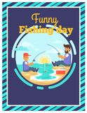 Funny Fishing Day with Father and Son Together. Funny fishing day template poster of sitting father and son near river keeping fish-rods at sunrise graphic Stock Photo
