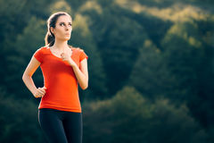 Funny Fit Sportive Woman Running Outside Royalty Free Stock Photo