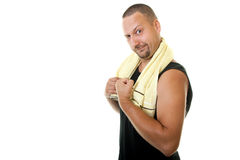 Funny fitness man showing his muscles Royalty Free Stock Photography