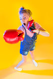 Funny fitness woman with boxing gloves Royalty Free Stock Photo