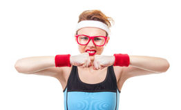 Funny fitness woman ready for gymnastick Stock Images