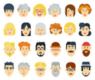 Funny flat avatars icons set. Positive male and female characters. Vector illustration. Stock Photography