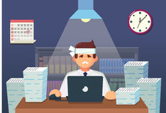 Funny flat Cartoon Character. Tired Office Worker Sitting and Working All Night. Vector Illustration Stock Photography