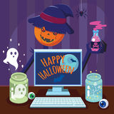 Funny flat Cartoon Happy Halloween Poster. Vector illustration. Royalty Free Stock Photo