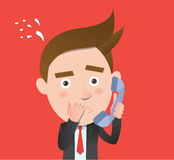 Funny flat character call dilemma concept Royalty Free Stock Photo
