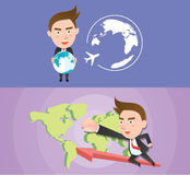 Funny flat character global business concept. 