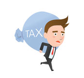 Funny flat character heavy tax business concept Stock Photography