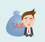 Funny flat character heavy tax business concept Stock Photo