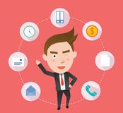 Funny flat character illustration Business series Stock Photos