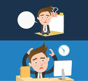Funny flat character overtime concept. 