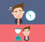 Funny flat character overtime concept Stock Photo