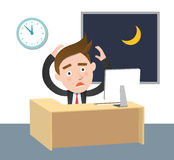 Funny flat character overtime concept. Illustration Stock Photo