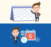 Funny flat character schedule business concept. 