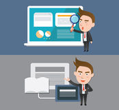 Funny flat character smart device business concept. 