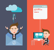 Funny flat character smart device sync concept.  Royalty Free Stock Photos