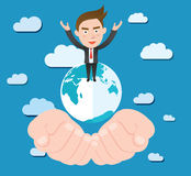 Funny flat character smart global business concept Stock Image