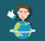 Funny flat character smart global business concept Stock Photography
