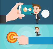 Funny flat character smart mobile concept. 
