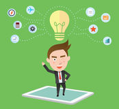 Funny flat character smart tablet concept Royalty Free Stock Photography