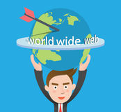 Funny flat character world wide web business conce Royalty Free Stock Photos