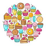 Circle from the funny sweets, fruit and ice cream. Donuts, cupcakes, cakes and cookies Stock Images