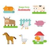 Funny flat kid style happy farm animals icon set Royalty Free Stock Image