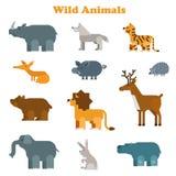 Funny flat kid style happy wild animals icon set Stock Photo