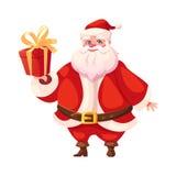 Funny flat santa holding christmas gift box Stock Photo