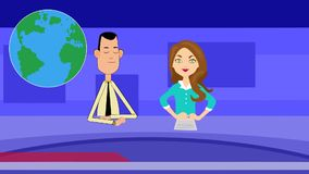 Fun animation of a News tv broadcast. Funny flat type animation of reporters talking and broadcasting news on TV stock footage