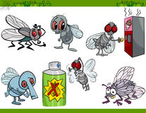Funny flies set cartoon illustration Stock Photo