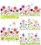 Funny floral borders. With abstract flowers Royalty Free Stock Photos
